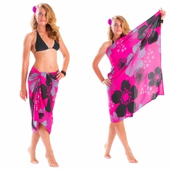 "Floral Sarong ""Pink Temptation"" Magenta and Black - Fringeless Sarong"