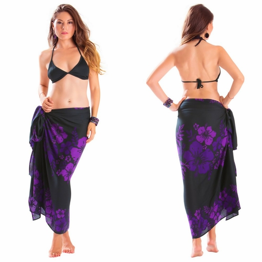 "Floral Sarong ""Amethyst Magic"" Purple and Black - Fringeless Sarong"