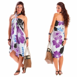 "Floral Sarong ""Wild Violets"" Purple and Black - Fringeless Sarong"