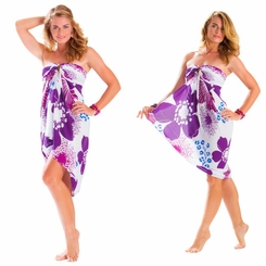 "Floral Sarong ""Purple Passion"" Violet and Lavender"