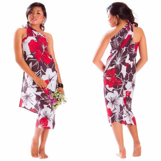 """Floral Sarong """"Radiant Ruby"""" Red and Purple"""