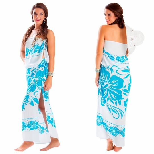 "Floral Sarong ""Blissful Sea"" Baby Blue and White - Fringeless Sarong"