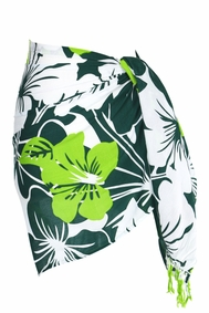 Floral Half Sarong Amazonia Jungle Green and White - Final Sale - No Returns