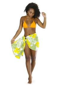 "Floral Half Sarong ""Canary Island"" Yellow and Green Fringeless"