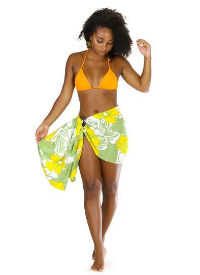 """Floral Half Sarong """"Canary Island"""" Yellow and Green Fringeless"""