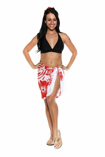 "Floral Half Sarong """"Passionate Scarlet"""" Red and White - Fringeless Sarong"