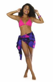"Floral Half Sarong ""Summer Romance"" Pink and Purple - Fringeless Sarong"