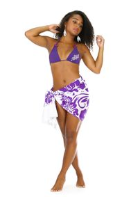 """Floral Half Sarong """"Sweet Mulberries"""" Purple and White - Fringeless Saron"""
