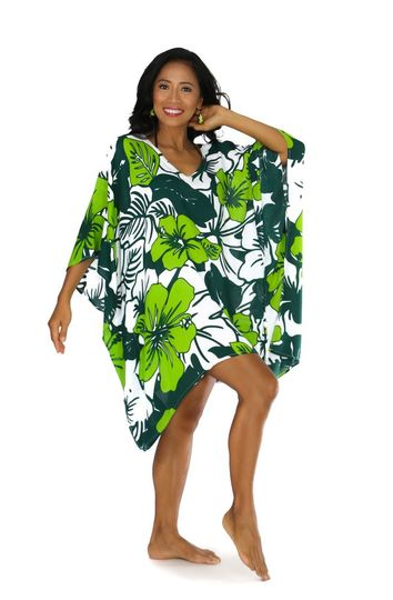 Floral Kaftan Amazonia Jungle Green and White Fringeless