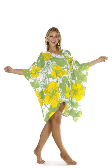Floral Kaftan Canary Island Yellow and Green