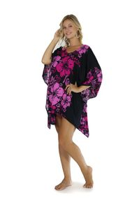 Floral Kaftan Cherry Blossom Pink Fuchsia and Black