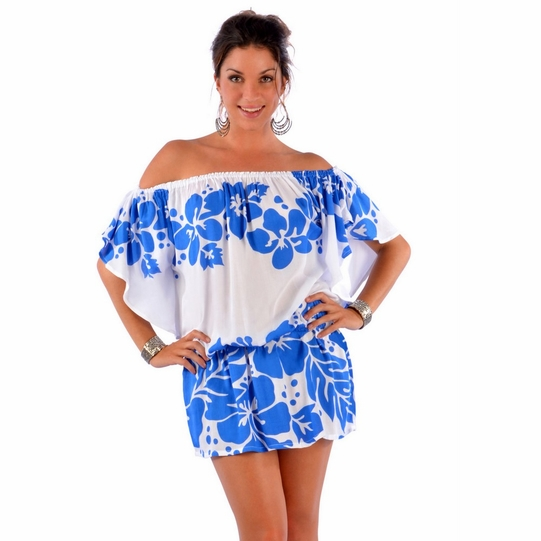 Floral Off the Shoulder Coverup Tunic Short Dress in White/Blue
