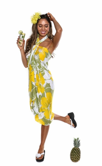"Floral Sarong ""Canary Island"" Yellow and Green"