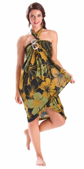"""Floral Sarong """"""""Divine Earth"""""""" Brown and Green-NO RETURNS"""