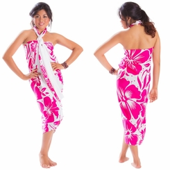"""Floral Sarong """"Infinite Love"""" Pink and White"""