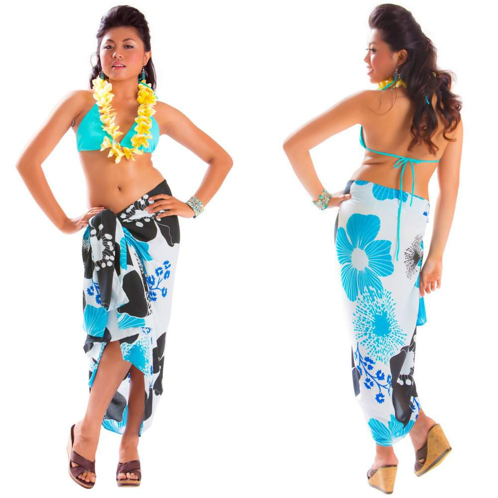 84b00fe0a Floral Sarong in Turquoise - Fringeless Sarong. Click to Enlarge
