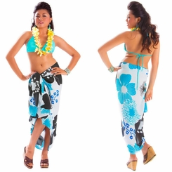 Floral Sarong in Turquoise - Fringeless Sarong