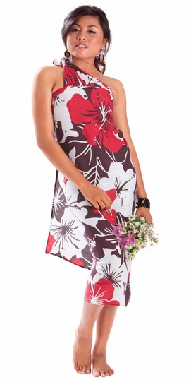 """Floral Sarong """"""""Radiant Ruby"""""""" Red and Purple-NO RETURNS"""