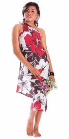 "Floral Sarong """"Radiant Ruby"""" Red and Purple-NO RETURNS"