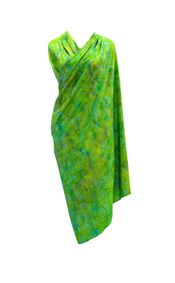 Cool Lime Green Abstract Floral Top Quality Plus Size Sarong - Fringeless Sarong