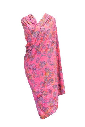 Candy Pink Floral Top Quality Plus Size Sarong - Fringeless Sarong