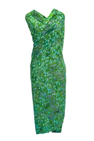 Deep Ocean Green Abstract Floral Top Quality Plus Size Sarong - Fringeless Sarong