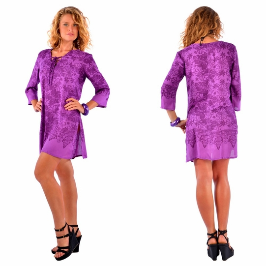 Floral Tunic Dress Beach Cover Up in Purple