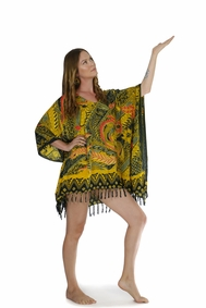 Fringed Poncho With Traditional Motif Brown Green