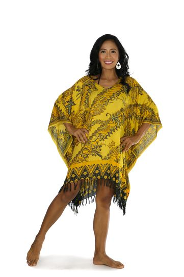 Fringed Poncho With Traditional Motif Gold - Parang Rusak