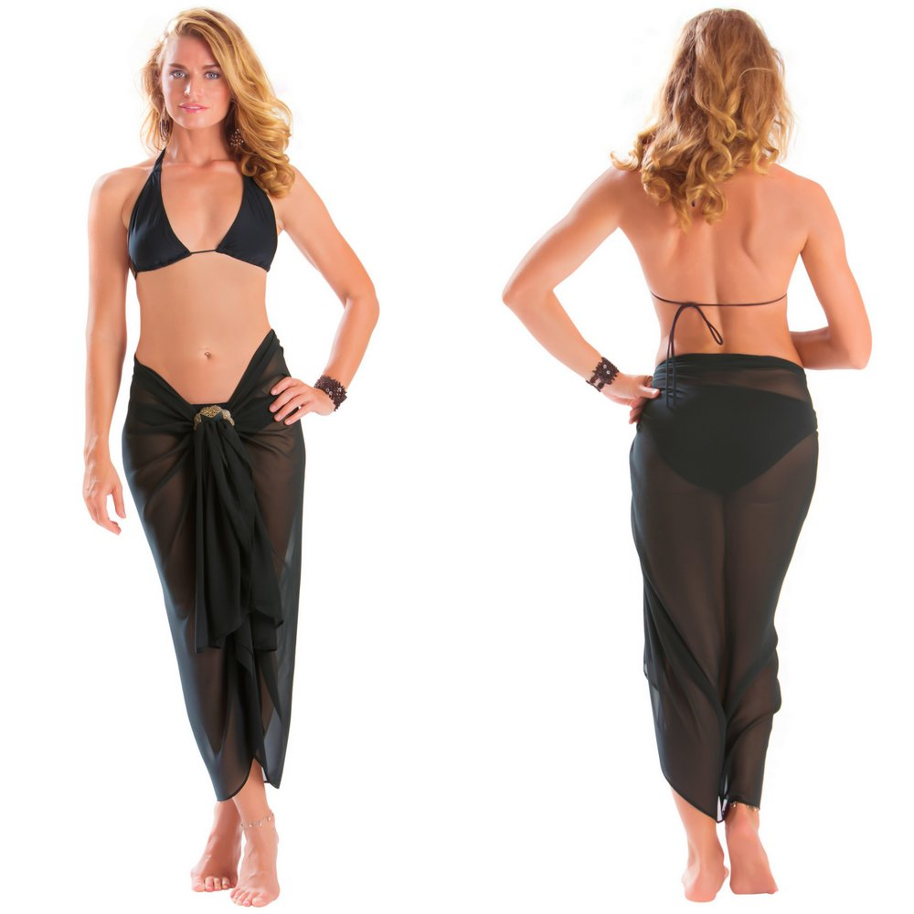 8a13e04259c47 Full Size Sheer Sarong in Black - Fringeless Sarong. Click to Enlarge