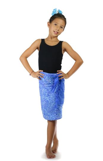 Girls Abstract Floral Half Sarong in Light Blue