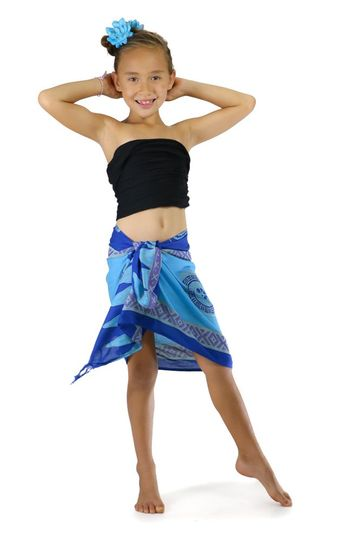 Girls Abstract Tiki Half Sarong in Blues