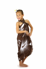 Girls Big Hibiscus Floral Sarong in Brown