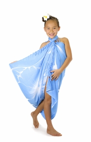 Girls Big Hibiscus Floral Sarong in Light Blue