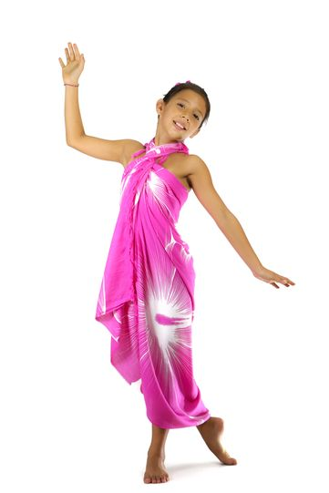 Girls Big Hibiscus Floral Sarong in Pink