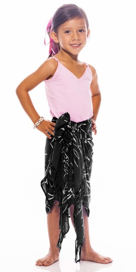 Girls Dragonfly Half Sarong in Black