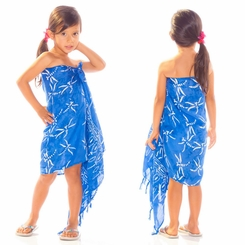 Girls Dragonfly Half Sarong in Light Blue