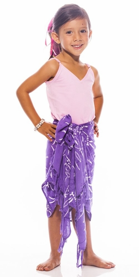 Girls Dragonfly Half Sarong in Purple