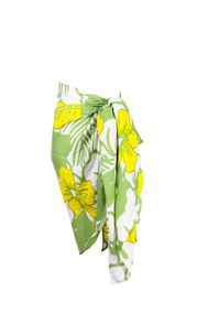 """Girls Floral Half Sarong """"Canary Island"""" Yellow and Green Fringeless"""