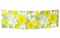 "Girls Floral Half Sarong ""Canary Island"" Yellow and Green Fringeless"