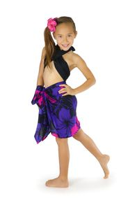 "Girls Floral Half Sarong ""Summer Romance"" Pink and Purple - Fringeless Sarong"