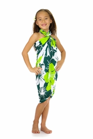 Girls Floral Sarong Amazonia Jungle Green and White