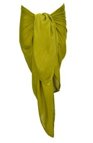 Girls Green Olive Half Sarong/Mini Sarong