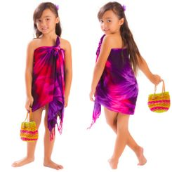 Girls Half Tie Dye Sarong Red/Purple/Pink