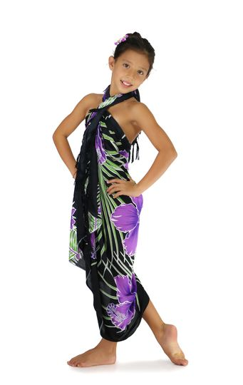 Girls Hawaiian Floral Sarong in Purple/Black