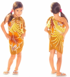 Girls Hawaiian Half Sarong in Browns