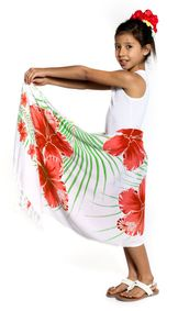Girls Hawaiian Half Sarong in Green/Red/White