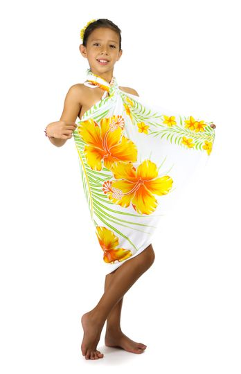 "Girls Hawaiian Sarong ""Yellow / Green / White"""