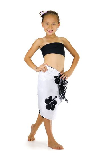 "Girls Hibiscus Half Sarong ""Black / White"""