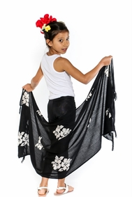 Girls Hibiscus Half Sarong in Black / Whitish